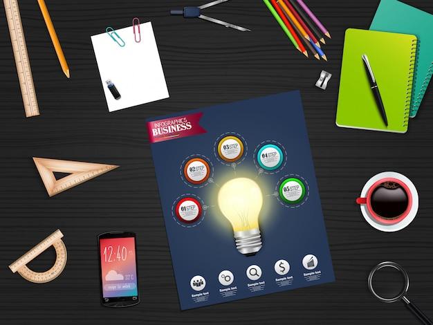 Infografía concepto de plantilla de negocio con papelería