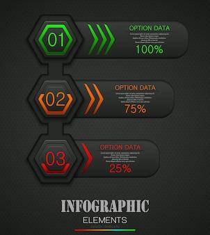 Infografía concepto de plantilla de negocios con 3 opciones