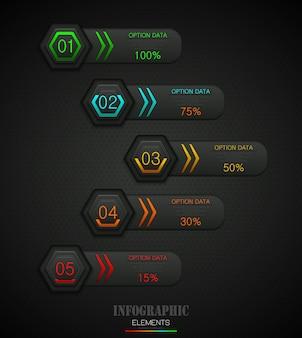 Infografía concepto de plantilla de negocios con 5 opciones