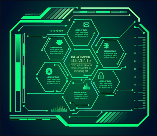 Infografía del concepto de tecnología futura del circuito cibernético de hud