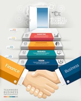 Infografía conceptual de la entrada de la escalera del trabajo en equipo del negocio.