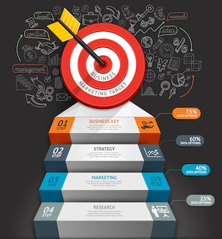 Infografía conceptual de escalera de negocios.
