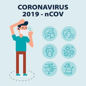 Infografía con un conjunto de iconos sobre la enfermedad del virus de wuhan coronavirus con el hombre enfermo ilustrado con máscara