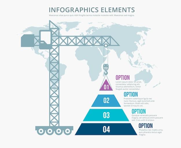 Infografía de construcción de opciones de gráfico piramidal. estructura y mapa del mundo, construcción de grúa torre, ilustración vectorial