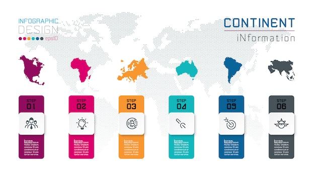 Infografía continental de información sobre gráficos vectoriales.