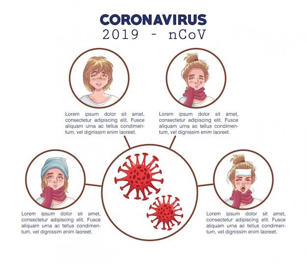 Infografía de coronavirus con personajes de mujeres enfermas