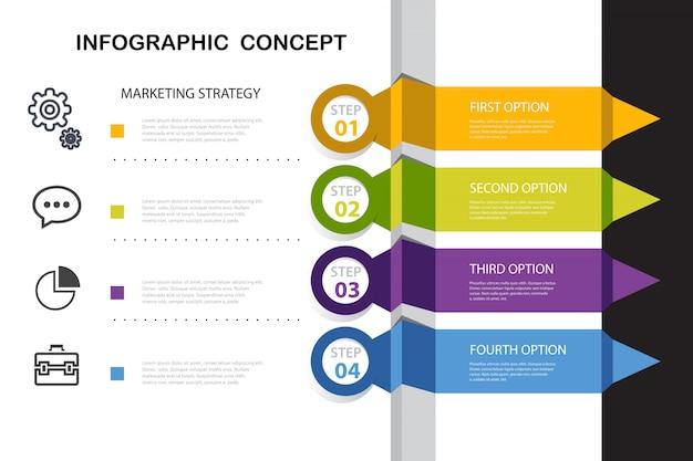 Infografía corporativa opcional con elementos.