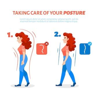 Infografía de corrección de postura dibujada a mano