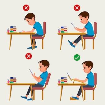 Infografía de corrección de postura de dibujos animados ilustrada