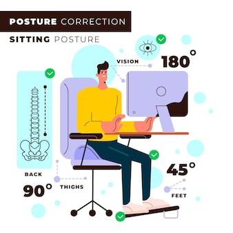 Infografía de corrección de postura de diseño plano