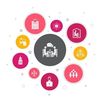 Infografía de coworking diseño de burbujas de 10 pasos.oficina creativa, colaboración, lugar de trabajo, economía compartida iconos simples