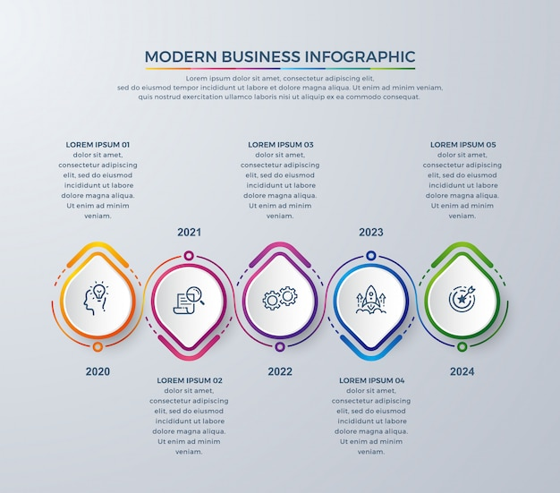 Infografía creativa con colores coloridos e iconos simples.
