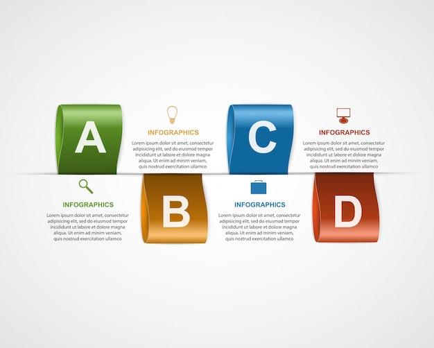 Infografía creativa con etiquetas de color.