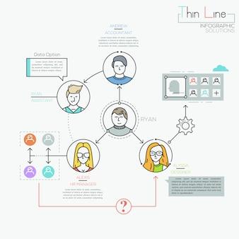 Infografía creativa, personajes humanos conectados por flechas y cuadros de texto