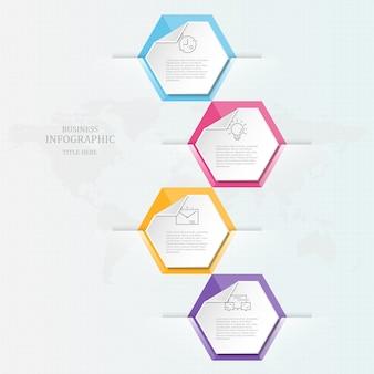 Infografía creativa y plantilla, 4 opciones.