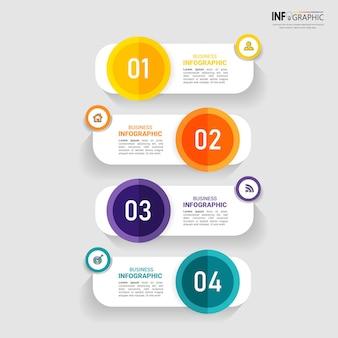 Infografía creativa con plantilla de cuatro pasos.
