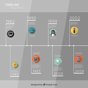 Infografía cronograma gris