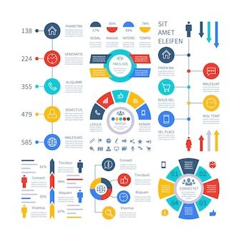 Infografía cuadro financiero multipropósito gráfico de marketing, tabla de proceso, diagrama de flujo de paso de línea de tiempo corporativo.
