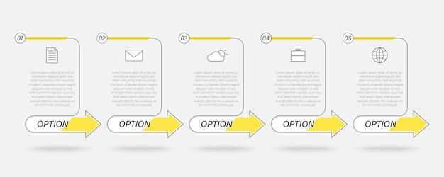 Infografía de cuadro de texto lineal empresarial, proceso de línea de tiempo con 5 pasos, flechas