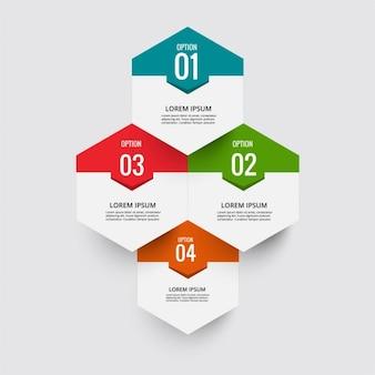 Infografía con cuatro opciones hexagonales