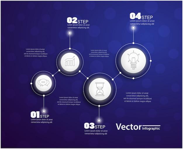Infografía de cuatro pasos con círculos