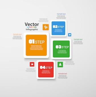 Infografía de cuatro pasos con cuadrados coloridos