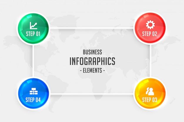 Infografía de cuatro pasos para presentación de negocios.