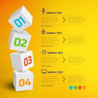 Infografía con cubos 3d