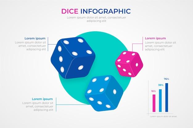 Infografía de dados coloridos