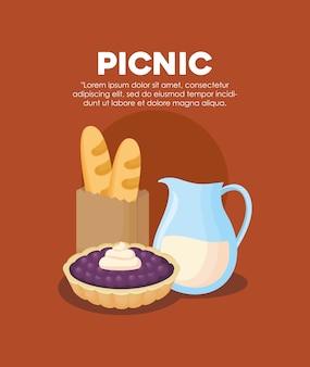Infografía de comida de picnic con iconos relacionados