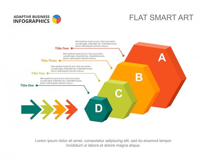Infografía de cuatro hexágonos. plantilla editable para gráfico de proceso, diagrama de opción