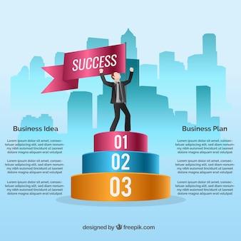 Infografía de hombre de negocios exitoso