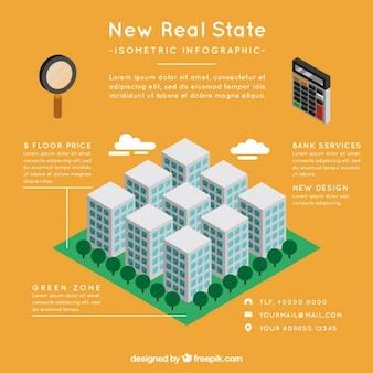 Infografía de inmobiliaria con edificios