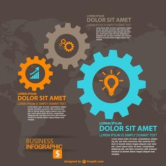 Infografía de negocios globales con engranajes