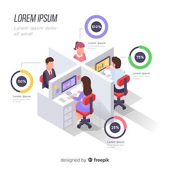 Infografía de negocios isométrica
