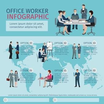 Infografía de trabajador de oficina
