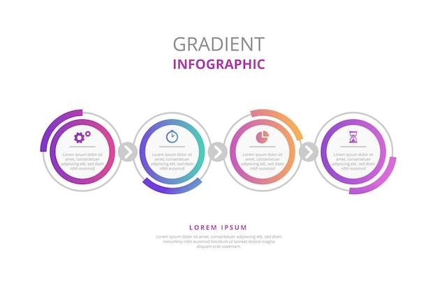 Infografía degradada con pasos