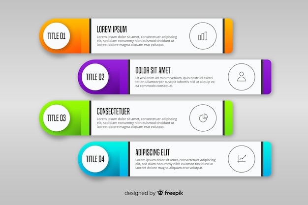 Infografía de degradado con cuadros de texto