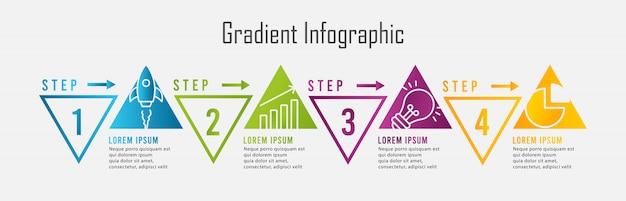 Infografía de degradado con cuatro pasos triangulares