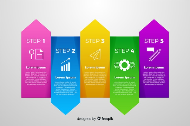 Infografía de degradado con diferentes colores.