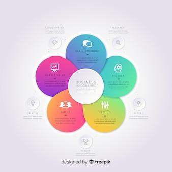 Infografía de degradado en diseño plano