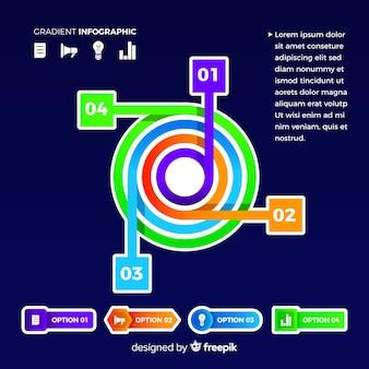 Infografía degradado de gráfico circular moderno