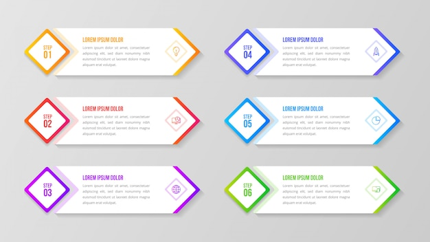 Infografía degradado multicolor con 6 pasos