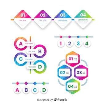 Infografía de degradado con pasos coloridos