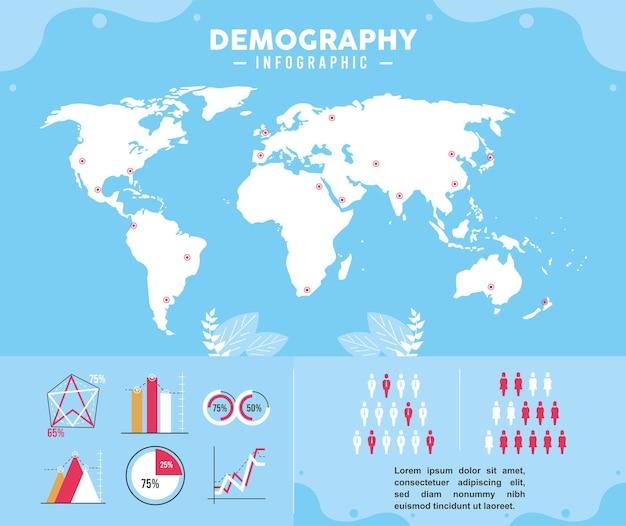 Infografía de demografía y planeta.