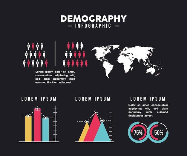Infografía de demografía seis iconos