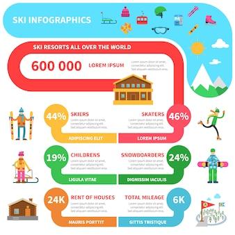 Infografía de deporte de invierno