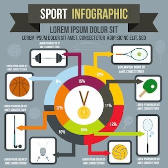 Infografía deportiva en estilo plano para cualquier diseño.