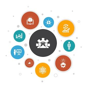 Infografía de desarrollo diseño de burbujas de 10 pasos.solución global, conocimiento, inversor, lluvia de ideas, iconos simples