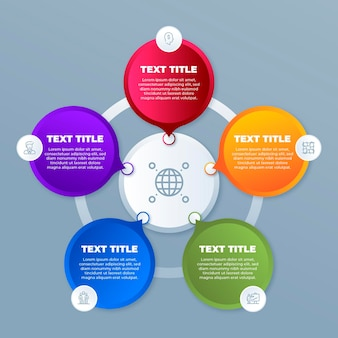 Infografía de diagrama circular degradado